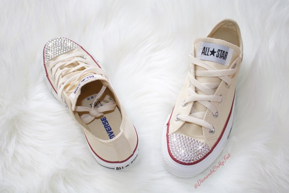 Swarovski Women's Converse Chuck Taylor All Star Tan Low Top Sneakers Blinged Out With Authentic Clear Swarovski Crystals Custom Bling Scarpe