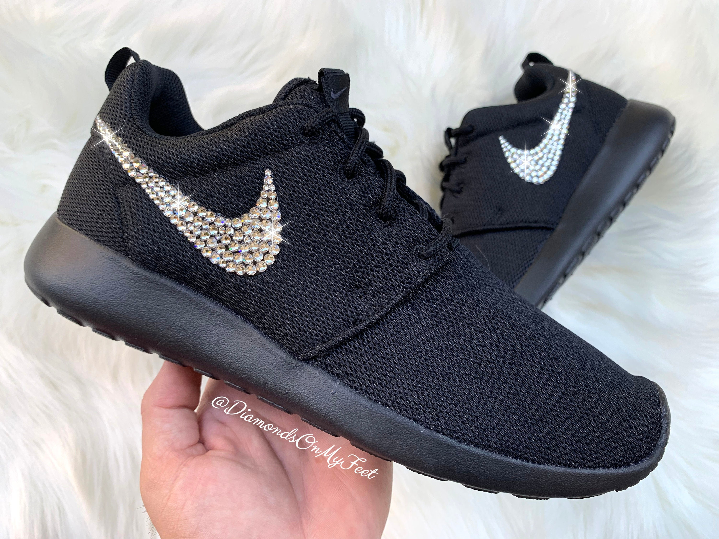 buy popular 6027c d1cf1 Swarovski Women's Nike Roshe Run Roshe One All Black Sneakers Blinged Out  With Authentic Clear Swarovski Crystals Custom Bling Nike Shoes