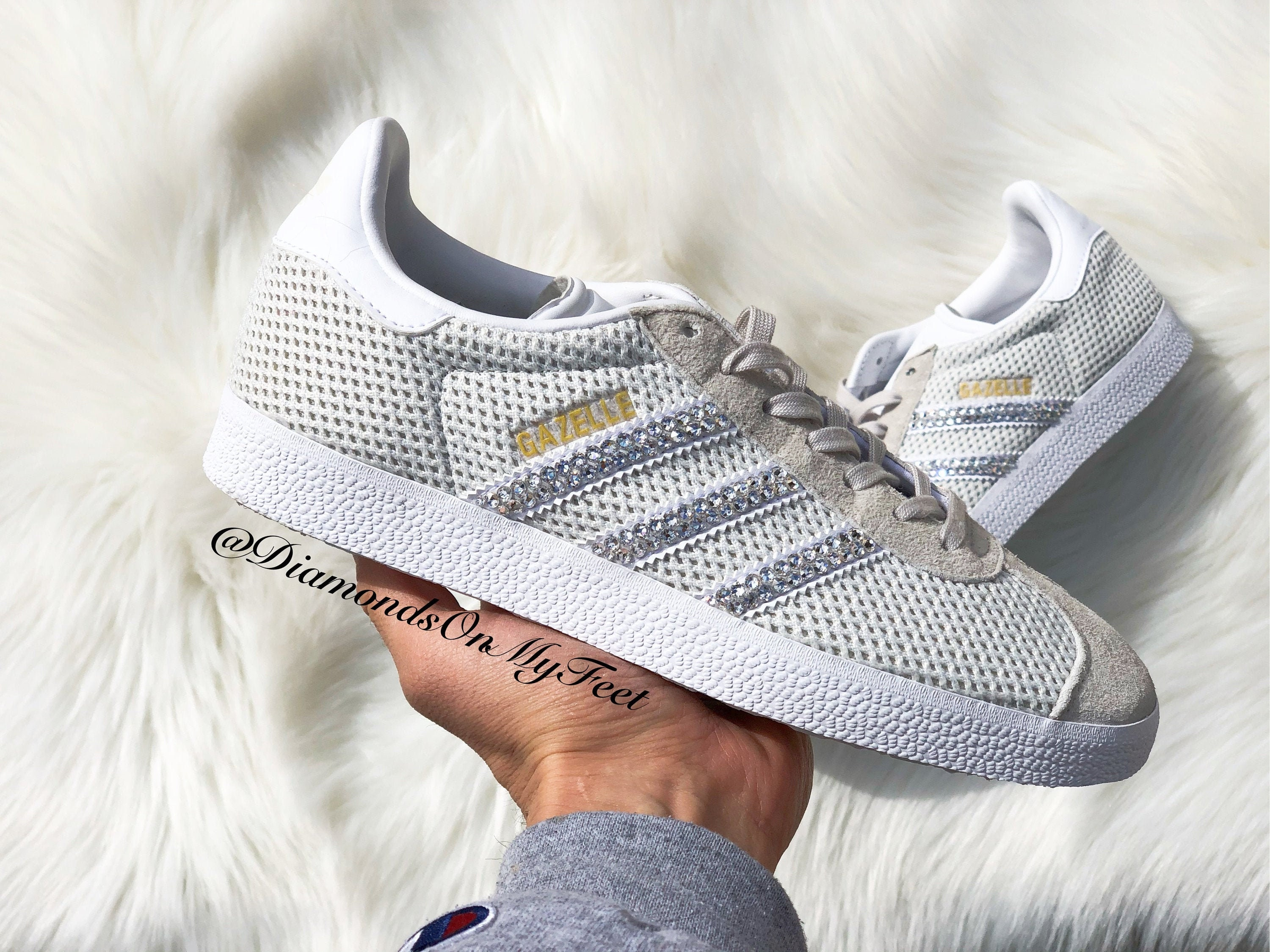 Size 7 - Swarovski Womens Adidas Gazelle Light Brown Sneakers Blinged Out With Authentic Clear Swarovski Crystals Custom Bling Adidas Shoes