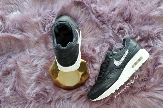 des femmes avec en Nike 1 Blinged Swarovski Air noir clairs cuir authentiques cristaux Pinnacle baskets Bling personnalis Max Swarovski Out Oqq7g5w