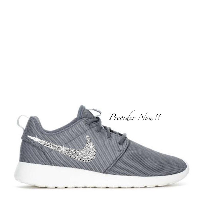 save off bc6c6 50728 Swarovski Women's Nike Roshe One Roshe Run Gray Sneakers Blinged Out With  Authentic Clear Swarovski Crystals Custom Bling Nike Shoes