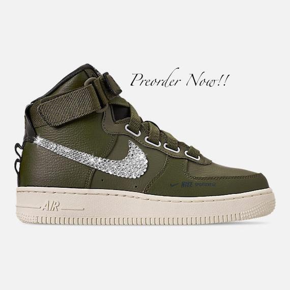 the latest 0f378 1ac83 Swarovski Women s Nike Air Force 1 High Olive Green   Etsy