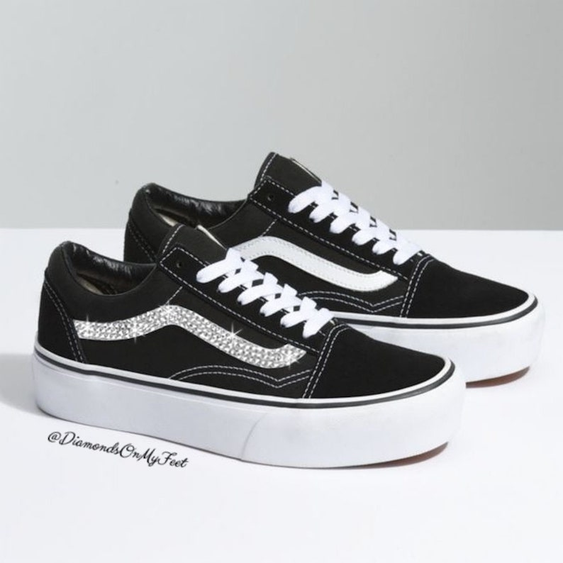 5333d8a5189f1 Swarovski Women's Vans Old Skool Black & White Platform Sneakers Blinged  Out With Authentic Clear Swarovski Crystals Custom Bling Shoes