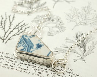 silver willow pattern sea pottery necklace, blue and white sea ceramic pendant