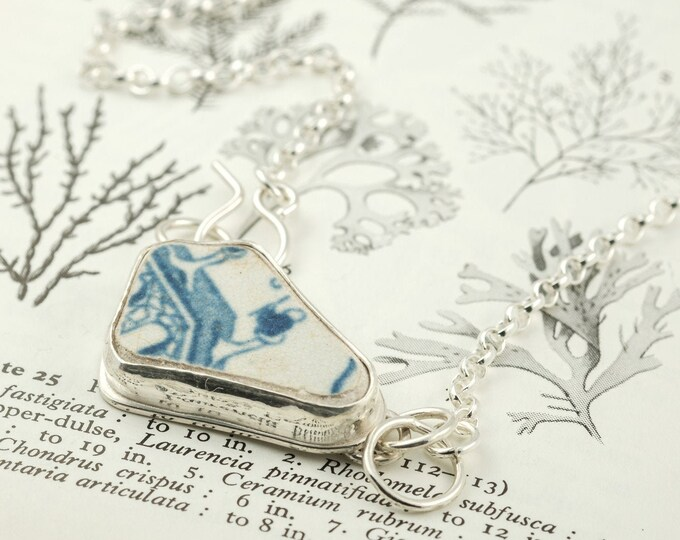 Featured listing image: silver willow pattern sea pottery necklace, blue and white sea ceramic pendant