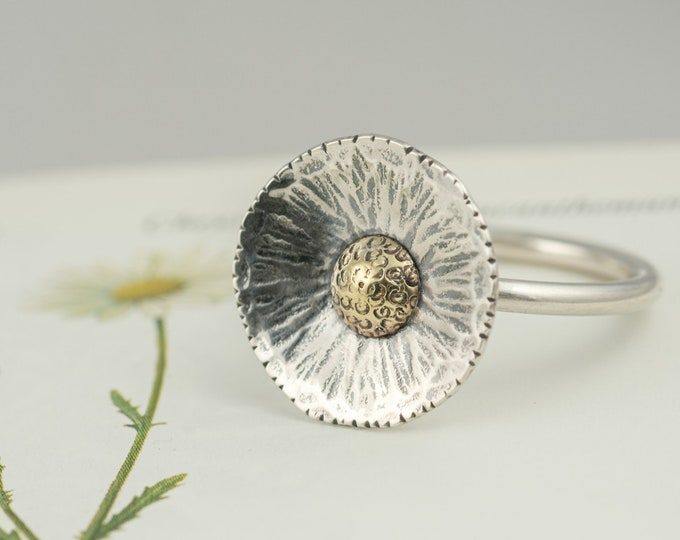 Featured listing image: silver daisy flower statement ring, spring wildflower stacking ring