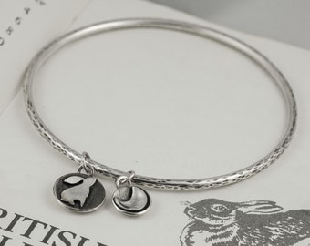 silver moon gazing hare and crescent moon charm bracelet bangle