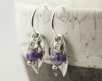 silver leaf and gemstone berry hoop earrings, amethyst garnet moonstone or sodalite
