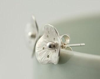 Silver poppy post earrings, flower stud earrings