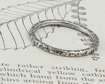 delicate hammered and oxidised silver band ring, sweet chestnut bark stacking ring
