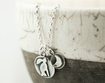 tiny silver moon gazing hare and crescent moon pendant necklace