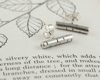 tiny silver birch bark post earrings, bar stud earrings