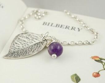 silver leaf and gemstone berry pendant necklace, amethyst garnet moonstone or sodalite