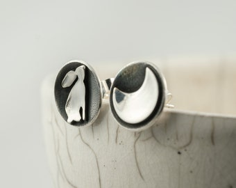 silver moon gazing hare and crescent moon mismatched post earrings