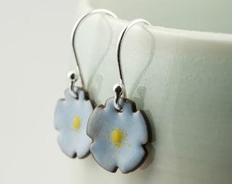 forget me not blue enamel copper drop earrings, tiny flower dangle earrings