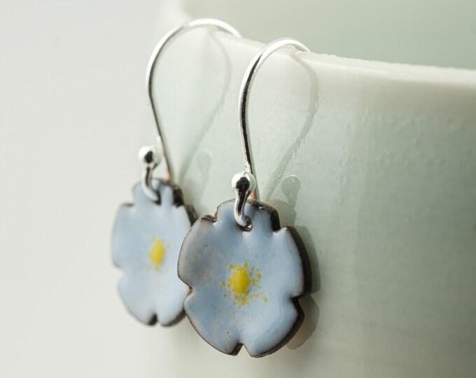 Featured listing image: forget me not blue enamel copper drop earrings, tiny flower dangle earrings