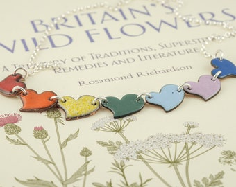 rainbow colours copper and silver hearts bunting necklace