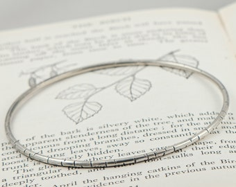 silver birch bangle, delicate textured bangle, birch bark bracelet