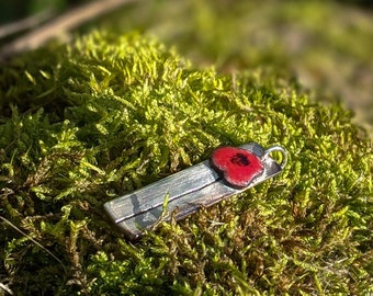 silver and red enamel poppy flower necklace, summer meadow wildflower pendant
