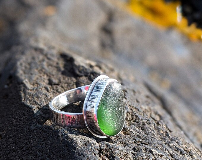 Featured listing image: green sea glass and silver adjustable band ring
