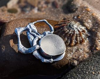 silver and pale aqua sea glass statement necklace, white seaglass pendant
