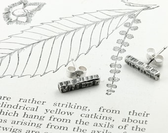 hammered and oxidised silver bar post earrings, sweet chestnut bark studs