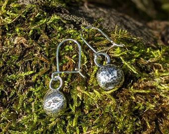 oxidised silver pebble earrings, recycled silver drop earrings