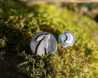 silver moon gazing hare and crescent moon pin brooch