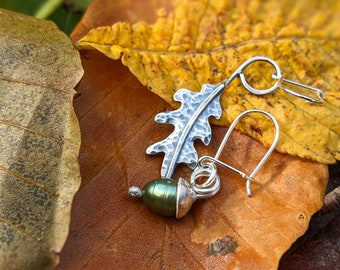 silver oak leaf and acorn mismatched drop earrings