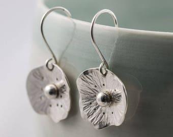 silver poppy flower drop earrings, wildflower dangle earrings