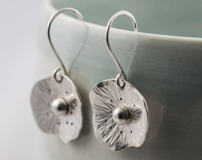 Featured listing image: silver poppy flower drop earrings, wildflower dangle earrings