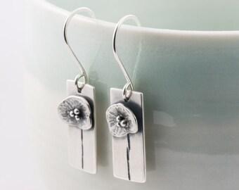 silver poppy flower drop earrings, summer meadow wildflower dangle earrings