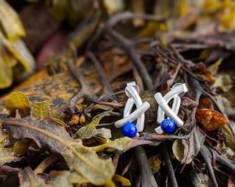 silver and lapis lazuli hidden gems driftwood post earrings