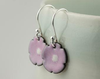 mauve mallow flower enamel copper drop earrings, tiny dangle earrings