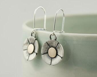 silver and 9ct gold daisy flower drop earrings, spring wildflower dangle earrings