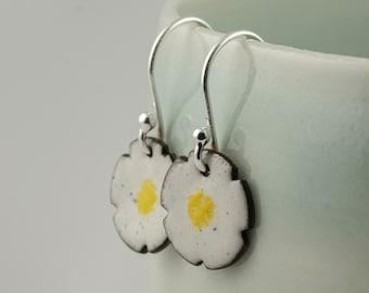 daisy enamel copper drop earrings, tiny flower dangle earrings