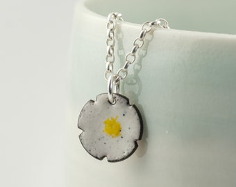 daisy enamel copper pendant, tiny flower necklace
