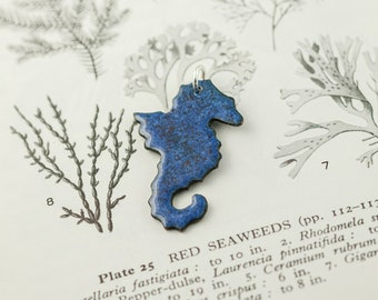 blue copper and enamel seahorse pendant necklace