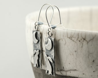 silver moon gazing hare dangle drop earrings