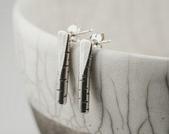 silver birch bark post earrings, bar stud earrings