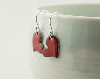 rainbow colours copper and enamel heart earrings