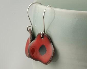 red poppy enamel copper drop earrings, flower dangle earrings