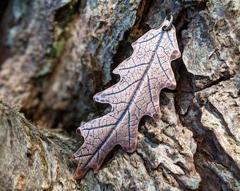 impressed copper oak leaf pendant necklace