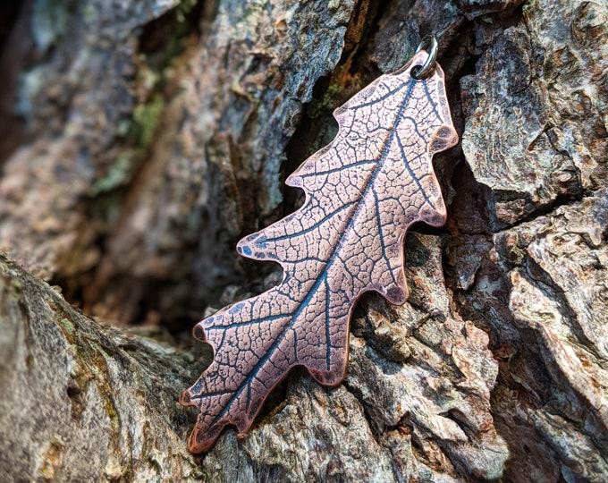 Featured listing image: impressed copper oak leaf pendant necklace