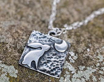 square silver moon gazing hare and crescent moon pendant necklace