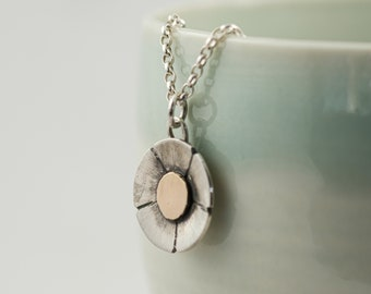 silver and 9ct gold daisy flower pendant, spring wildflower necklace