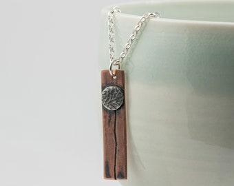 copper and silver dandelion pendant, wildflower necklace