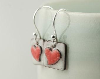 tiny copper and red enamel heart drop dangle earrings