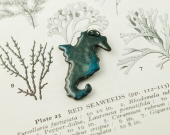 green copper and enamel seahorse pendant necklace