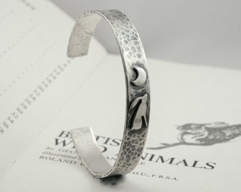 silver moon gazing hare and crescent moon torque bracelet